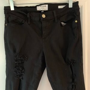 Frame skinny ripped black denim. Sz 28
